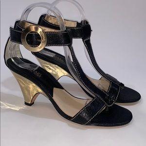 Michael Kors black leather t-strap sandals size 9